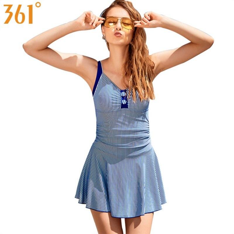 361 Skirted Bathing Suit Striped Swimwear Women One Piece Bikini 2018 Quality Female Swimsuit Blue Monokini Ladies Beach Dress