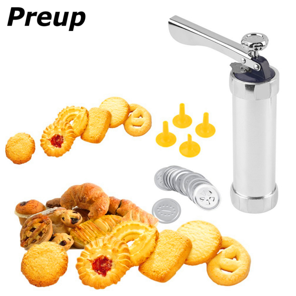 PREUP 1 set Multi Pattern cookie extruder Press Machine Biscuit Maker Cake Making Decorating Gun Kitchen Tools Bakeware