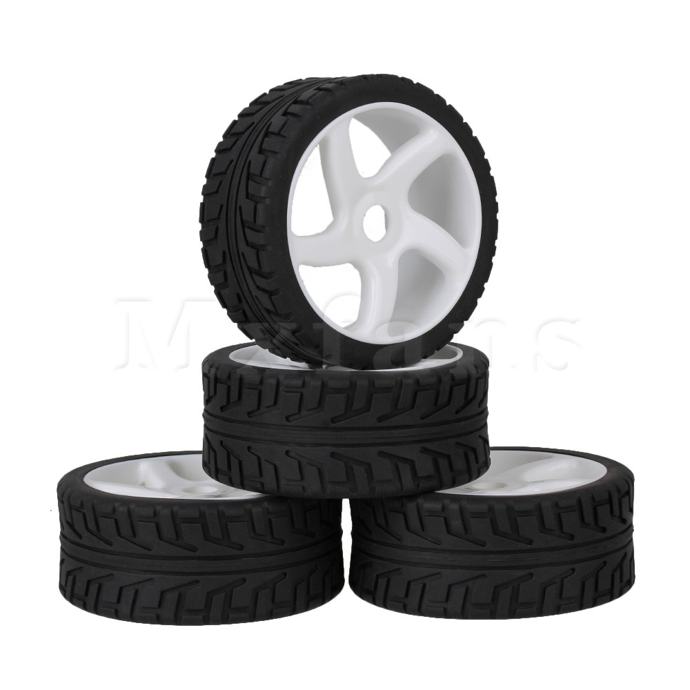 Mxfans 4 x RC 1:8 Off Road Car White 5 Spoke Plastic Wheel Rim + High Grip Rubber Tyre hd w82 replacement universal rubber plastic wheel for 1 8 truck black white 2 pcs