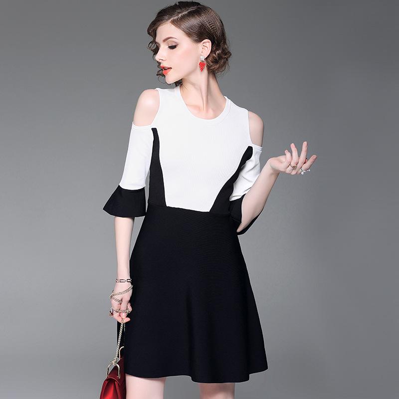 Dress 2018 New Arrive Casual Knitted Dress Women Sexy Off the shoulder Round Neck A-line Elegant Party Contrast Color Dress cute off the shoulder lemon dress for women