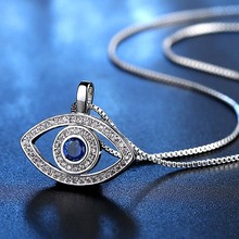 цена на Blue Evil Eye Pendant Women Necklace Cubic Zirconia Micro Paved Rose Gold Silver Color Necklaces Choker Fashion Jewelry DBN004