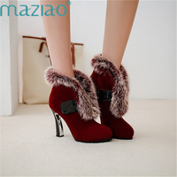Winter Boots Warm Ankle Boots Motorcycle Slip on Fluffy Shoes Woman High Thick Heel Boots Sexy Round Toe Short Boots MAZIAO