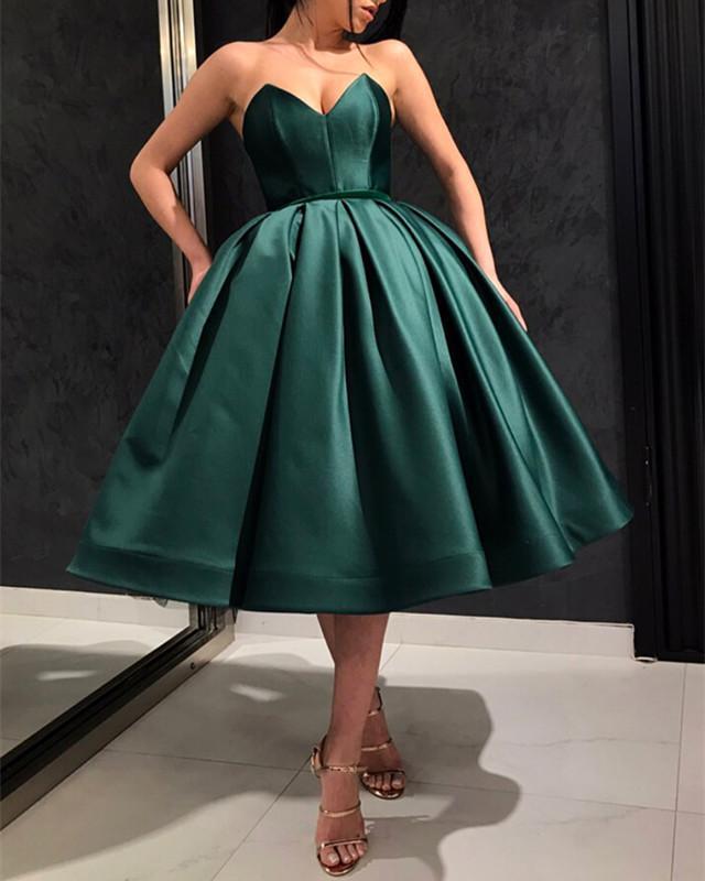 Satin Dentelle À Puffy De Soirée Pour mollet Pluze Robes Vert Foncé Femmes Bal Mode Mi Parti Longueur Thé Up Taille Partie HUxv6P8