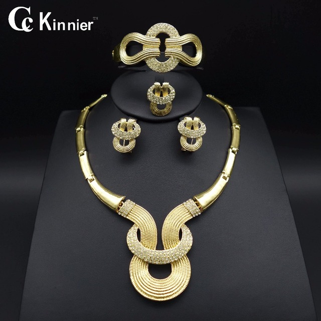 HOT Fashion wedding Dubai Africa Nigeria African Jewelry gold plated necklace Earrings romantic woman Bridal Jewelry Sets