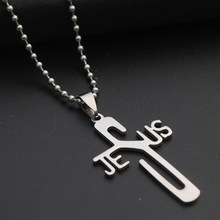 stainless steel English letter JESUS cross necklace personality Christian faith Jesus