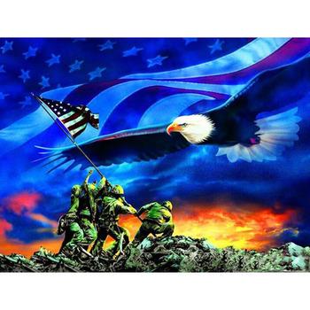 Hobby i rzemiosło majsterkowanie malowanie diamentowe amerykańskie flagi orły armia dżetów ścieg mozaikowy wzorek 5D haft diamentowy tanie i dobre opinie NoEnName_Null Obrazy PAPER BAG Pojedyncze Żywica Pełna Zwierząt Zwinięte 1-30 Plac Europa