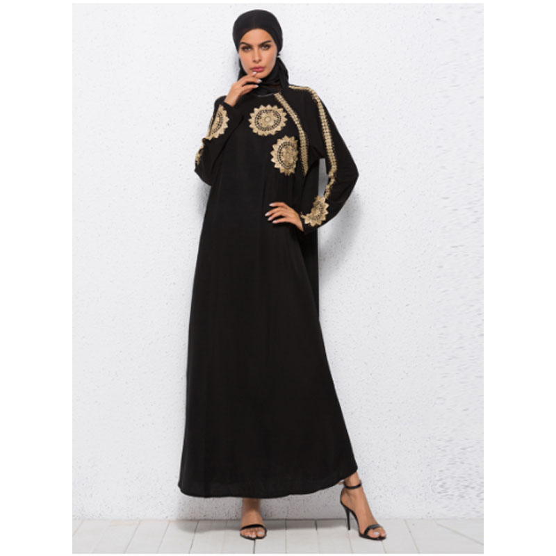 Women Muslim Golden Embroidery Stripe Black Long Dresses Malaysia ... 58bb072a1c88