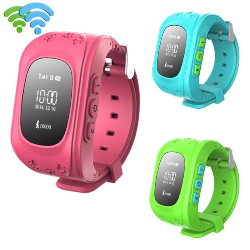 Smart Wrist Watch Anti-lost Children GPS Positioning Bluetooth GPS Tracker Watches W5 Q50 For Android IOS Blue/Green/Red