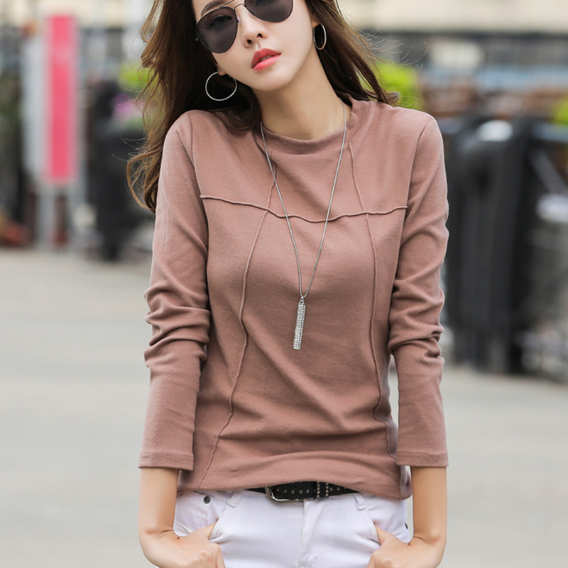 Ladies T-Shirt Lengthy Sleeve Cotton Tops Feminine Garments Style Clothes Slim T Shirt Ladies's Strong Shade Shirt Spring Autumn 379