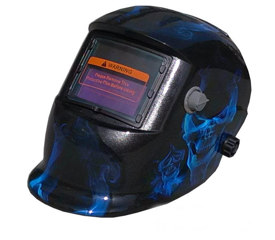 2017 new free shipping blue flame skull head welding cap xiaoyan welding mask welding helmet welding protection Soldering iron welding helmet welder cap for welding equipment chrome for free post