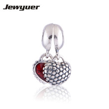 925 sterling silver jewelry charm Mother and Daughter with Red Enamel heart dangle charms DIY assessories Fine jewelry DA007(China)
