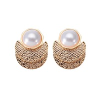 JEROLLIN Fashion Jewelry Silver Gold Color Alloy Stud Concave Convex Surface White Pearl Earrings For Women