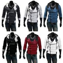 Men Zip Up Hooded Sweatshirt Slim Fit Autumn Coat Tops Warm Outwear Long Sleeves Jackets