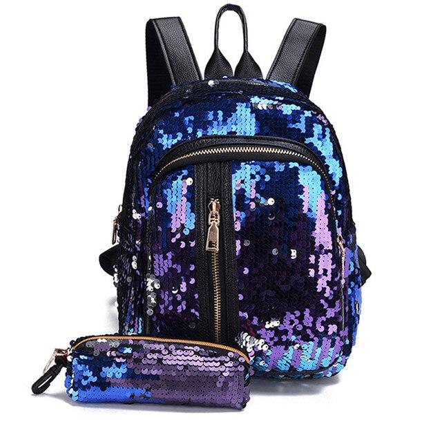 fa34a97f6694 Women Laser Luminous Backpack School Hologram hot Fashion Girl Sequins  School Bag Backpack Travel Shoulder Bag+Clutch  89