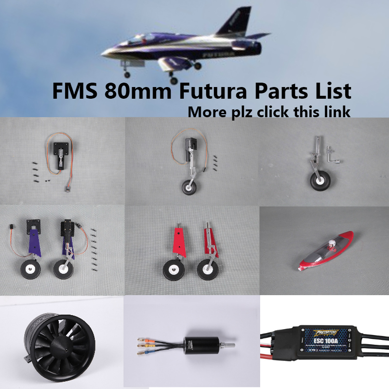 FMS 80mm Futura EDF Ducted Fan Jet Parts Retract Landing Gear Set System Motor ESC Servo Canopy RC Airplane Model Plane Aircraft image