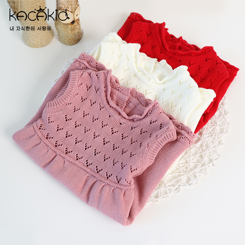 Newborn Girl Princess Sweater Dress New 2017 Autumn Knitted Sleeveless Baby Dress Kids Knee-Length Dress for Infant Girls dress