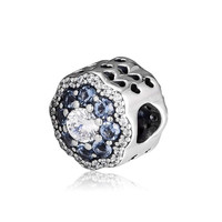 2019 Spring Garden Collection Blue Sparkling Flower Charm fits Pandora Bracelets Charms Silver 925 Original Flower Bead Jewelry.