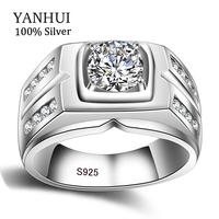 YANHUI Original Natural 925 Silver Rings For Men Sona 1 Carat Diamant Engagement Rings Cubic Zirconia