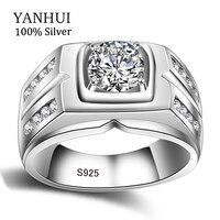 YANHUI Originele Natuurlijke 925 Zilveren Ringen Voor Mannen Sona 1 Karaat Diamant Verlovingsringen Zirconia Trouwringen Mannen Sieraden