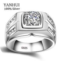 YANHUI Original Natural 925 Silver Rings For Men Sona 1 Carat Diamant Engagement Rings Cubic Zirconia