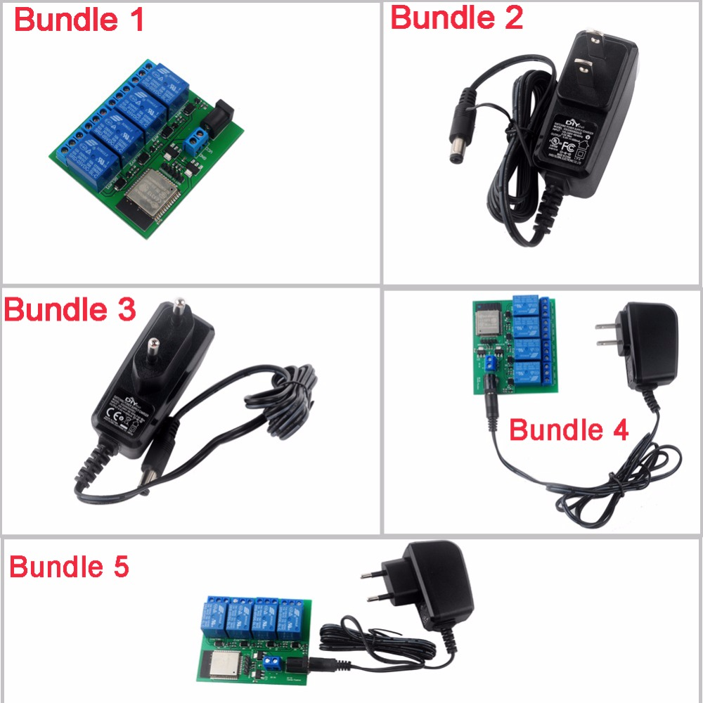 DIYmall ESP32S 4 Channel Wifi Bluetooth Relay Module DC6V 0.6A 600mA Power Adapter US/EU Plug FZ2707+FZ2707B/FZ2707E