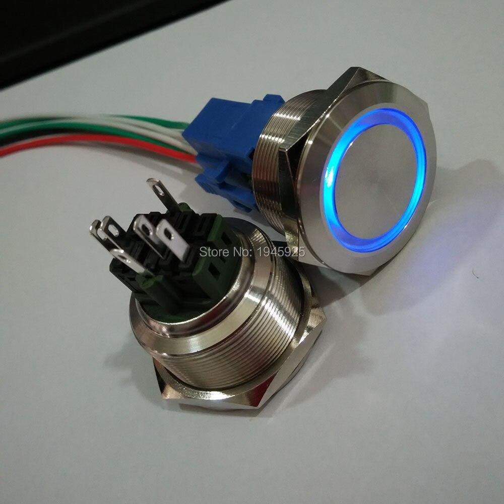 купить 30mm self locking 1NO1NC pushbutton switches with 230V ring illumination waterproof White,blue,green,red,orange,yellow недорого