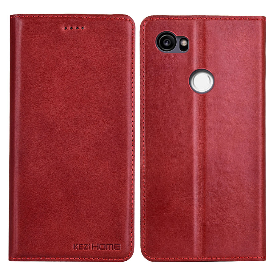 Case For Google Pixel 2 XL Kezihome Top-Quality Genuine Leather Flip Stand Leather Cover For Google Pixel2 XL 6.0'' Phone Cases