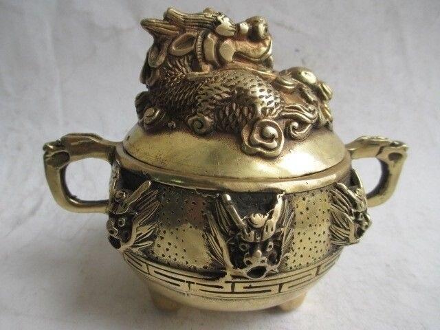 TNUKK chine collection magnifique brûleur d'encens en laiton, Kowloon.9.5 cm