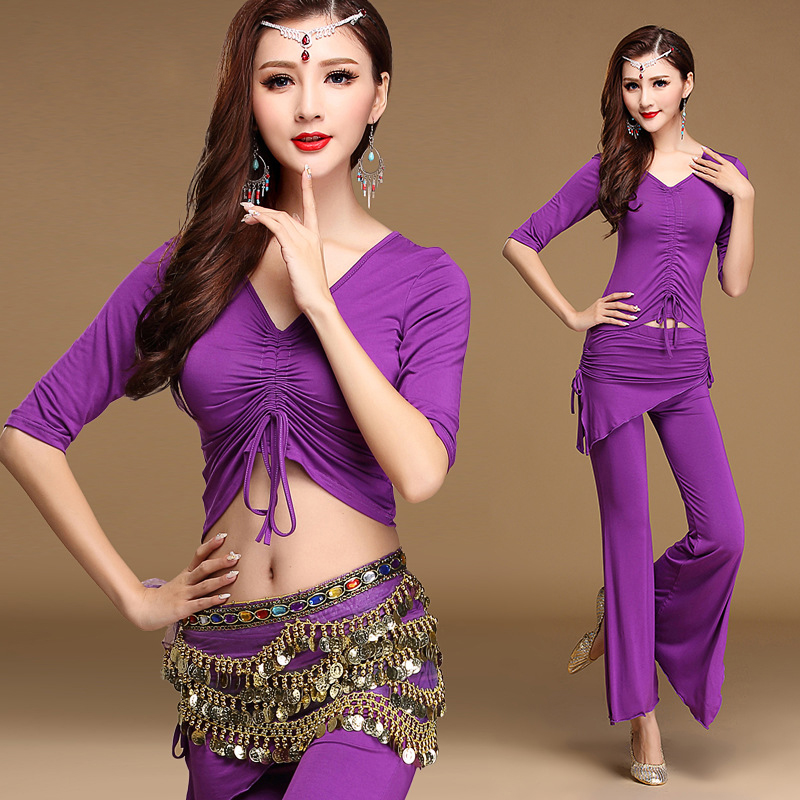 Bellydance Set Belly Dance Costume 3 pieces Belly Dance Top Trousers With Coins Belt Hip Scarf Bellydance Practice Costume Set