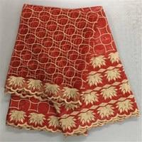 Conjuntos de Renda Nigeriano Brilhante Brocade Bazin africano Vestido Frete Grátis com 2 Metros de Tecido de Renda Líquida Francês Em Brocado Vermelho 30