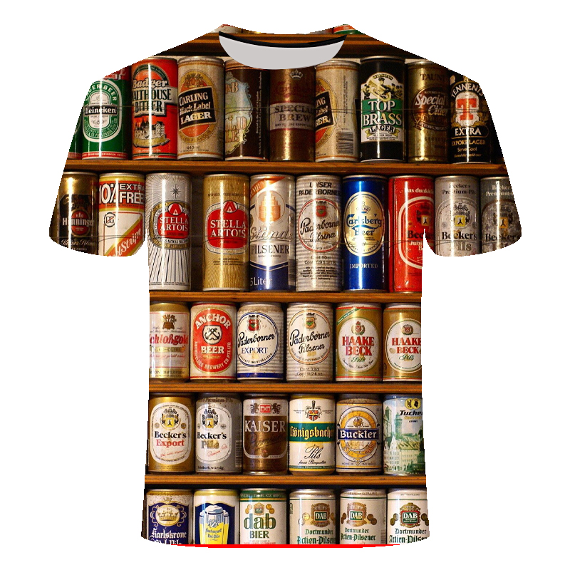 Funny T Shirts Summer 2019 Men's Clothing Brand O-neck Clock Jacket Beer Short-sleeved 3d T Shirt Digital Printing T-shirt Large