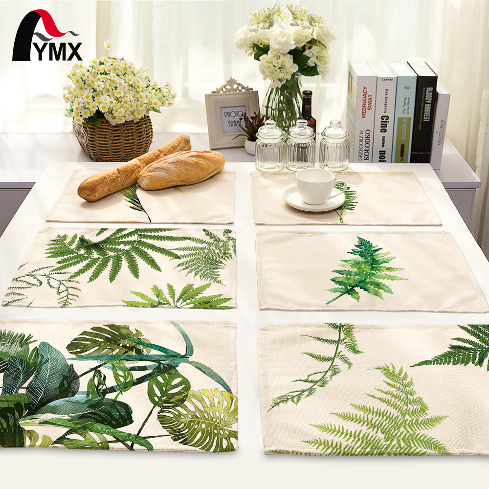 Mix 7 Style Leaves Table Napkins Plates Printed Cloth Dinner Table Deco Accessories Wedding Party Napkins Wholesale Price