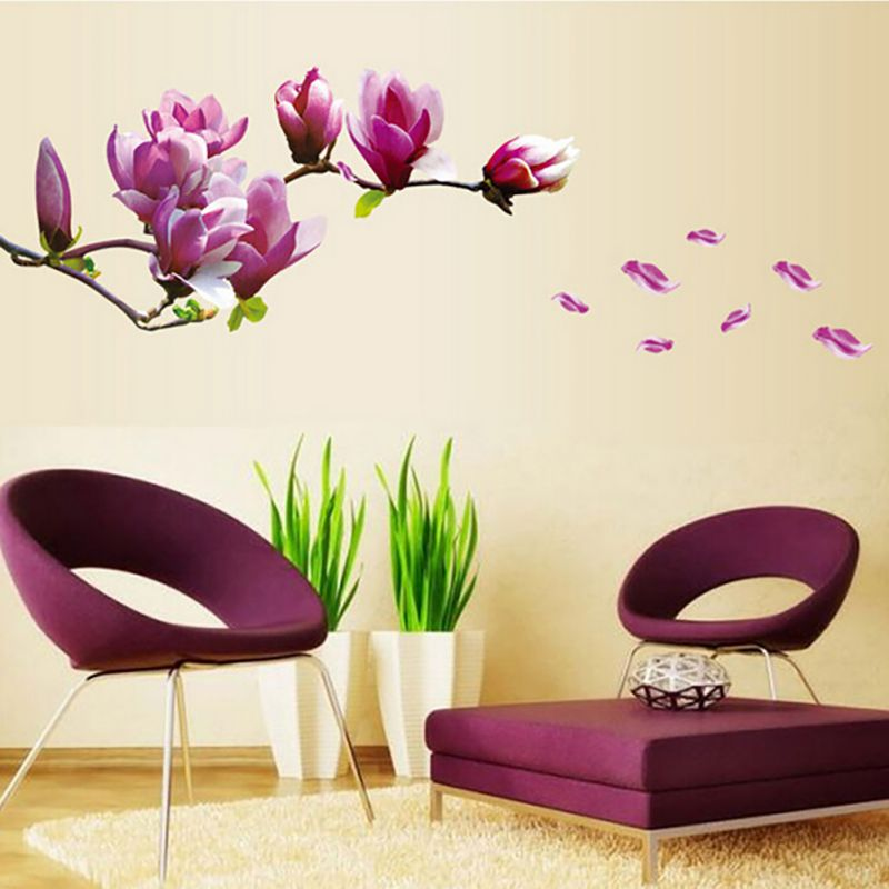 Large Elegant Flower Wall Stickers Graceful Blossom Wall Stickers Romantic Living Room Decoration