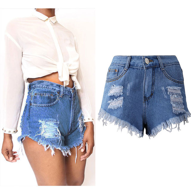 2017 Summer Denim Shorts Female Vintage High Waist Cuff Jeans Ripped Shorts Girls Street Wear Sexy Short Feminino Plus Size 3XL