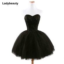 Prom-Dress Black Elegant Princess Beading Sweetheart Women Short Fashion Lace New-Arrival