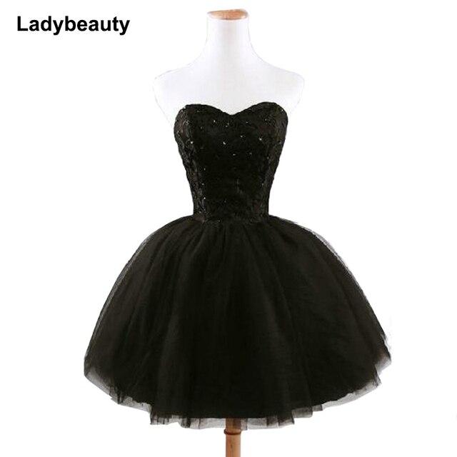 New arrival elegant women short prom dress black lace up princess sweetheart beading fashion women black prom dress 1