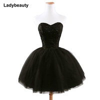 2019 New arrival elegant women short prom dress black lace up princess sweetheart beading fashion women black prom dress