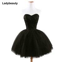 2019 New arrival elegant women short prom dress black lace up princess sweetheart beading fashion women black prom dress