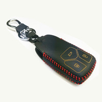 Leather Smart 3 Buttons Car Key Fob Skin Remote Cover Case For 2016 Audi Q7 TT Keyless entry Key Holder