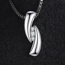 0.03ct Cubic Zirconia 3 stones Pendant Real 925 Sterling Silver Fashion Jewelry For Women Not Include A Chain