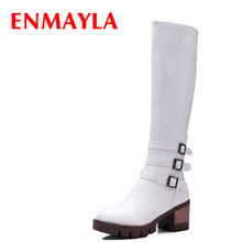 Airfour 2016  Autumn Winter Square Low Heels Zipper Half Boots Women Shoes Platform Buckle Martin Boots Knight Boots half boots british passport half boots