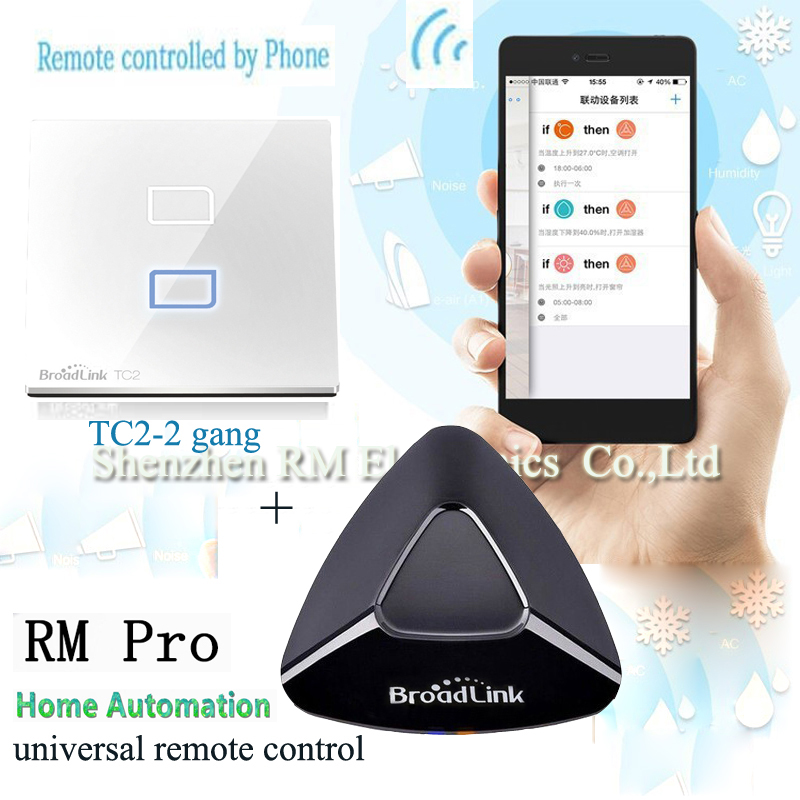Broadlink RM Pro Smart Home Universal Intelligent Remote Controller+TC2 2 gang Touch Light Switch WiFi Controlled for Smartphone broadlink us tc2 wifi touch switch 3gang 110 220v for rm2 rm pro universal remote controller wifi ir rf wireless control 433 315