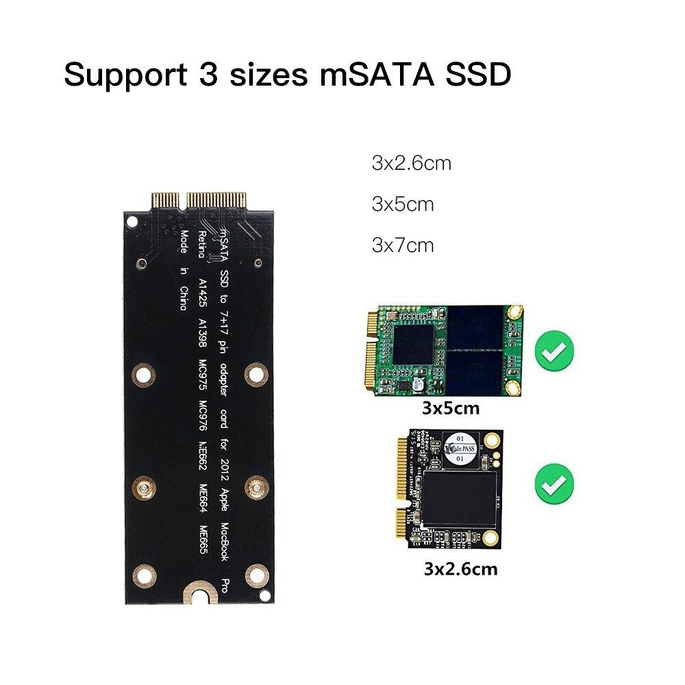 "New mSATA SSD To SATA 7+17 Pin Adapter Card for MacBook Pro 13/"" A1425 2012 2013"