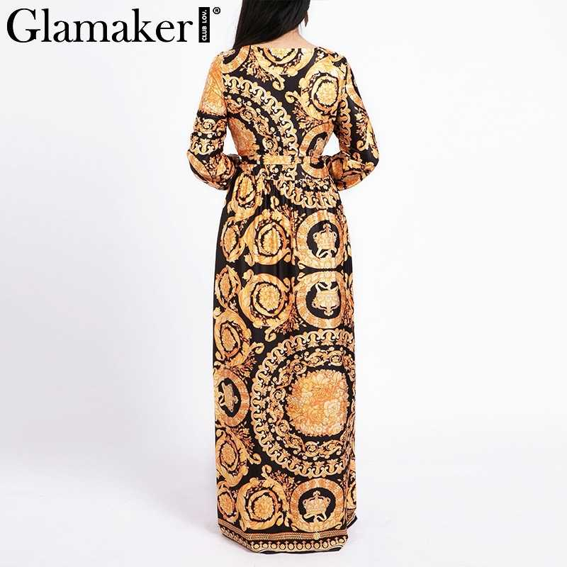 ... Glamaker Vintage split sexy boho dress Women summer elegant print maxi  dress long sleeve paisley 2019 ...