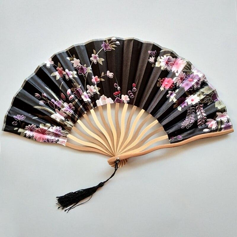 1 Pcs Classic Style Peony Flower Fabric Bamboo Folding Dance Hand Fan