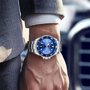 Image 5 - WLITH2019relogio masculino luksusowy srebrny męski zegarek kwarcowy ze stali nierdzewnej sport wodoodporny wypoczynek biznesowy męski zegarek