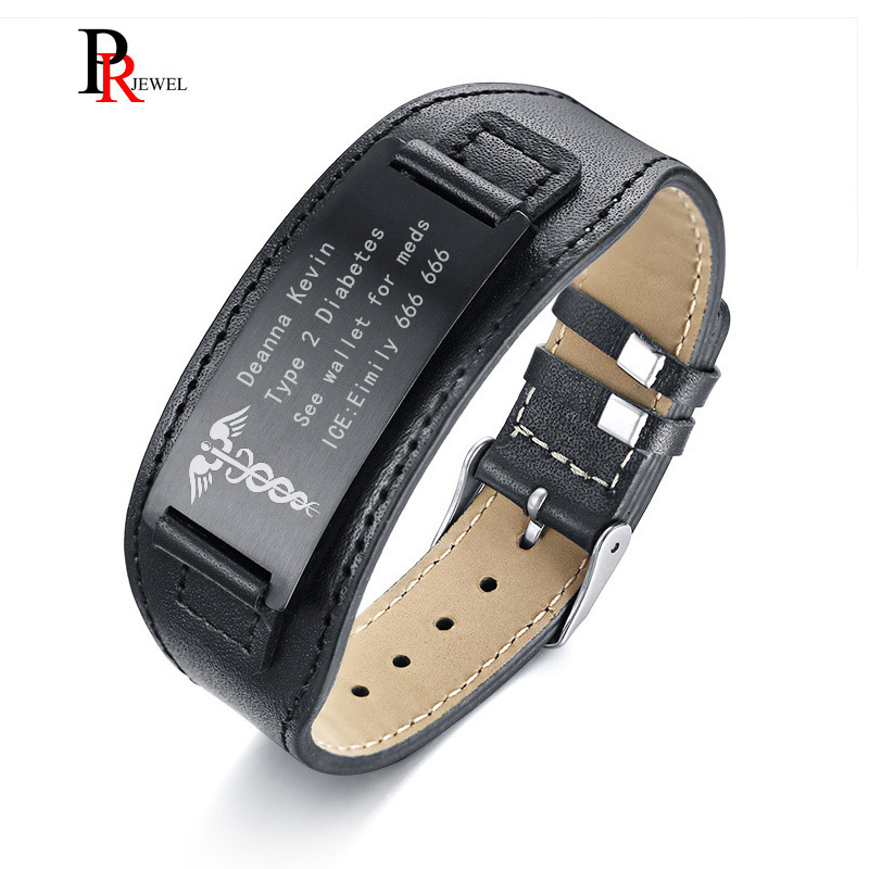 Medical Alert ID Bracelets for Men Genuine Leather Wrap Bracelet 6.69-8.66 Personalize Free Engrave Name Disease ICE Info duoying 40 4 mm bar bracelets rope custom name bracelet personalize string bracelet friendship family bracelets jewelry for etsy