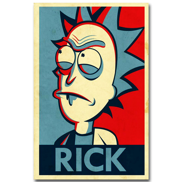 Rick and Morty Anime Art Silk Fabric Poster Vintage Print 13×20 inch Cartoon Picture for Living Room Wall Decoration Gift 002