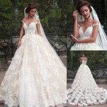 Fantastyczne Tulle Bateau dekolt suknia ślubna suknie ślubne z koronkowymi aplikacjami koronkowe suknie ślubne szampana