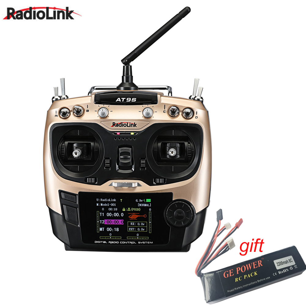 Radiolink AT9S R9DS Radio Remote Control System DSSS & FHSS 2.4G 9CH Transmitter & Receiver With Lipo Battery for Rc Quadcopter upgraded radiolink r9ds 2 4ghz 9ch dsss receiver